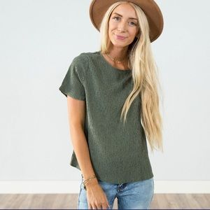 Olive green silky short sleeve texture top. Nice!